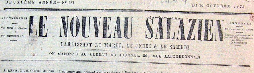 Photo (BnF / Gallica) de : Le Nouveau Salazien. Saint-Denis, 1872-1885. ISSN 2428-5560.