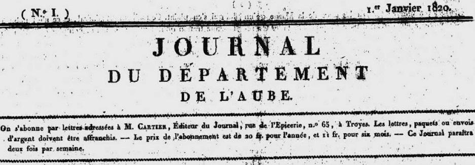 Photo (Aube. Archives départementales) de : Journal du département de l'Aube. Troyes: Impr.  de Mme  Bouquot, 1820. ISSN 2263-5432.