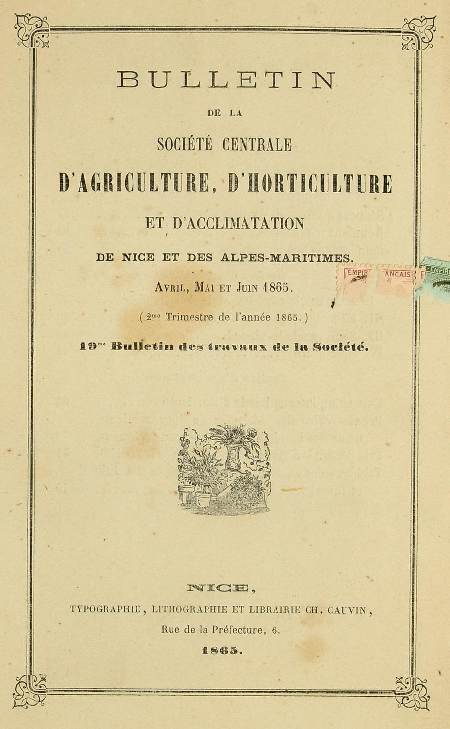 Photo (Bibliothèque municipale (Grasse, Alpes-Maritimes)) de : Bulletin de la Société centrale d'agriculture, d'horticulture et d'acclimatation de Nice et du département des Alpes-Maritimes. Nice, 1860-1870. ISSN 2122-6881.