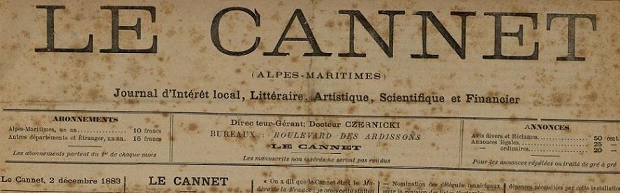 Photo (Cannes (Alpes-Maritimes). Archives municipales) de : Le Cannet. Cannes, 1883-[1887 ?]. ISSN 2123-3950.