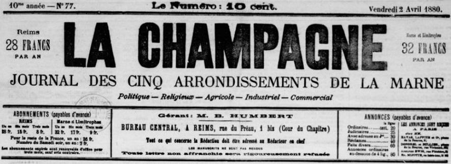 Photo (BnF / Gallica) de : La Champagne. Reims, 1871-1883. ISSN 2123-6232.