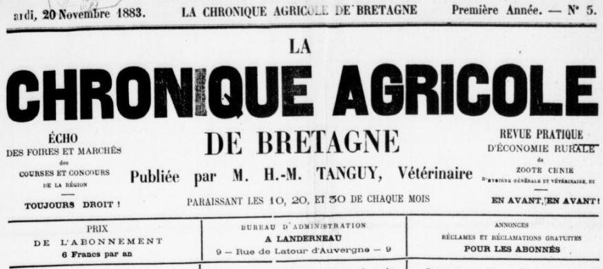 Photo (BnF / Gallica) de : La Chronique agricole de Bretagne. Landerneau, 1883-[1890?]. ISSN 2123-7387.
