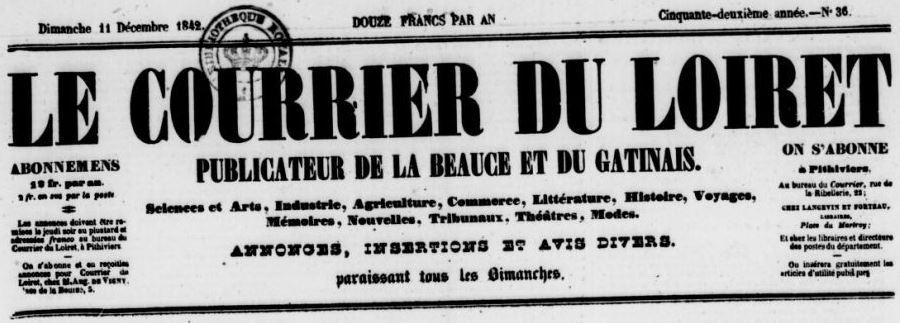 Photo (BnF / Gallica) de : Le Courrier du Loiret. Pithiviers, [1842 ?-1884 ?]. ISSN 2124-8834.
