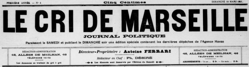 Photo (BnF / Gallica) de : Le Cri de Marseille. Marseille, 1901-1944. ISSN 2125-0626.