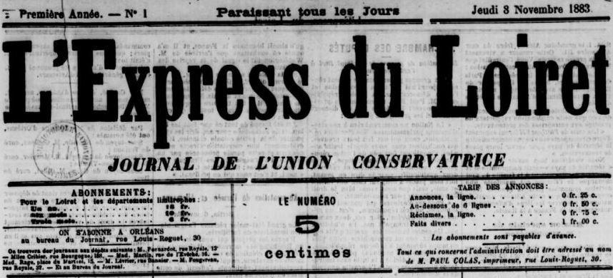 Photo (BnF / Gallica) de : L'Express du Loiret. Orléans, 1883-1886. ISSN 2127-7478.