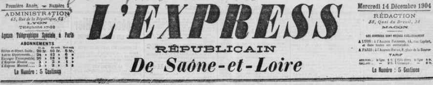 Photo (BnF / Gallica) de : L'Express républicain de Saône-et-Loire. Mâcon, Lyon, 1904-1914. ISSN 2127-7532.