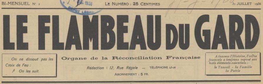 Photo (BnF / Gallica) de : Le Flambeau du Gard. Nîmes, 1936-[1937 ?]. ISSN 2128-0797.