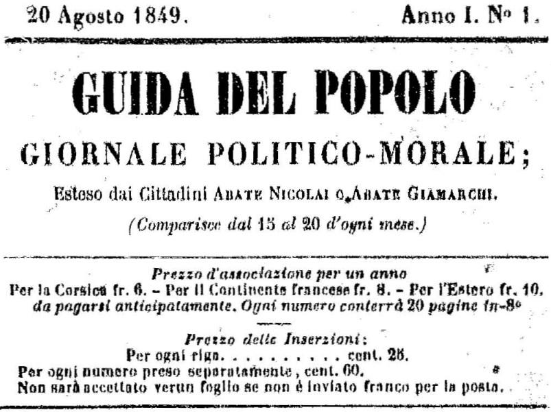 Photo (Université de Corse (1975-....)) de : Guida del popolo. Bastia, 1849-1880. ISSN 2129-0687.