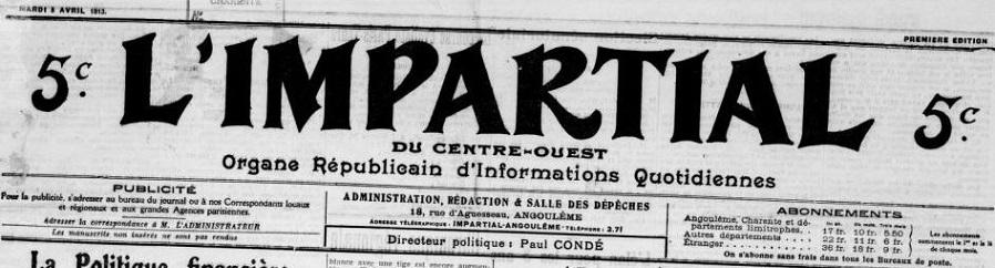 Photo (BnF / Gallica) de : L'Impartial du Centre-Ouest. Angoulême, 1912-1914. ISSN 2100-7071.