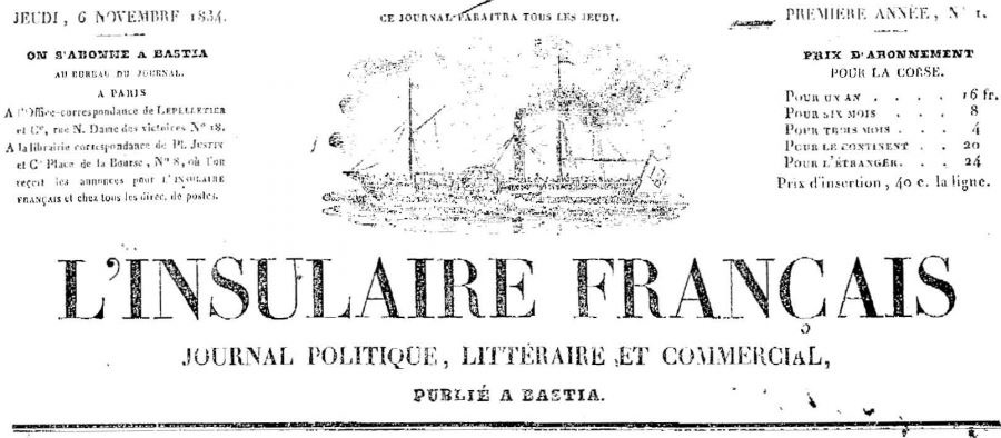 Photo (Université de Corse (1975-....)) de : L'Insulaire français. Bastia: Impr. César Fabiani, 1834-1848. ISSN 2129-934X.