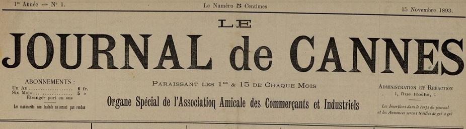 Photo (Cannes (Alpes-Maritimes). Archives municipales) de : Le Journal de Cannes. Cannes, 1893-[1894 ?]. ISSN 2130-2960.