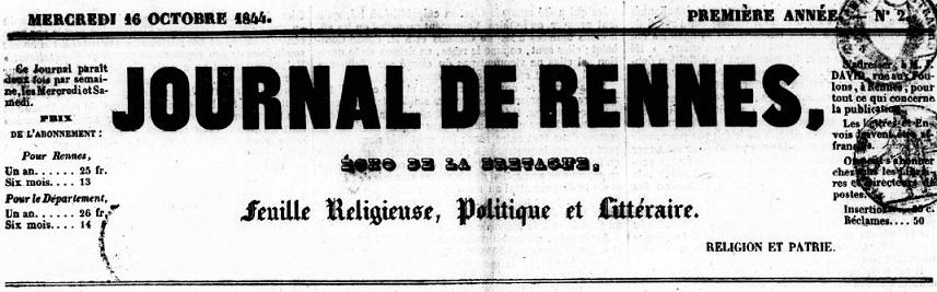 Photo (Bibliothèque de Rennes métropole) de : Journal de Rennes. Rennes, 1844-1915. ISSN 2130-582X.