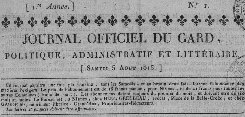 Photo (BnF / Gallica) de : Journal officiel du Gard. Nismes, 1815. ISSN 2130-9949.