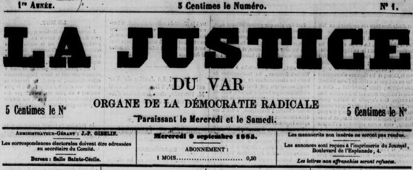 Photo (BnF / Gallica) de : La Justice du Var. Draguignan, 1885-[1893 ?]. ISSN 2017-4071.