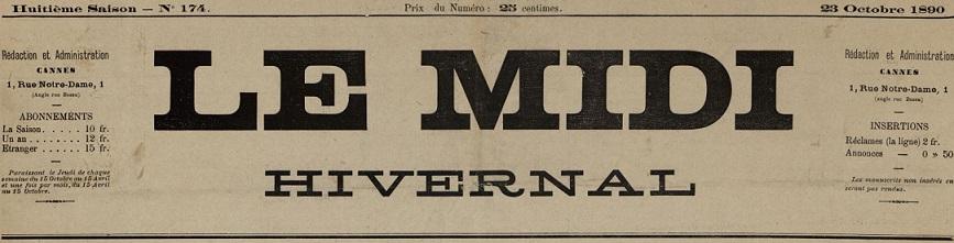 Photo (Cannes (Alpes-Maritimes). Archives municipales) de : Le Midi hivernal. Cannes, 1885-[1896 ?]. ISSN 2132-2244.