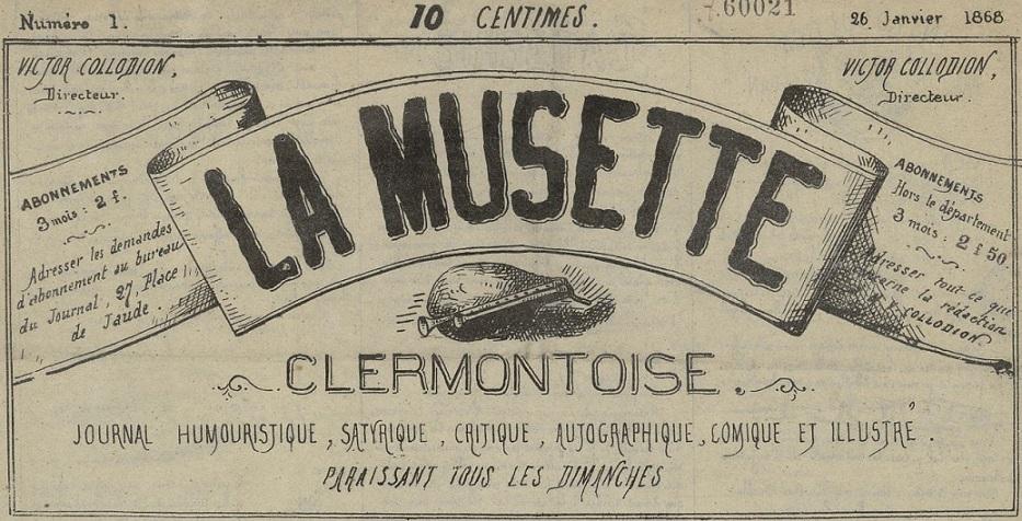 Photo (Bibliothèque du patrimoine de Clermont Auvergne métropole) de : La Musette clermontoise. Clermont-Ferrand, 1868. ISSN 2132-6614.