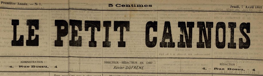 Photo (Cannes (Alpes-Maritimes). Archives municipales) de : Le Petit Cannois. Cannes, 1892-[1893 ?]. ISSN 2134-0145.