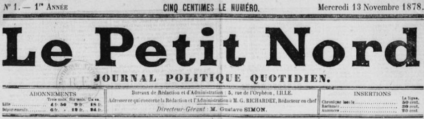 Photo (BnF / Gallica) de : Le Petit Nord. Lille, 1878-1892. ISSN 2134-3306.