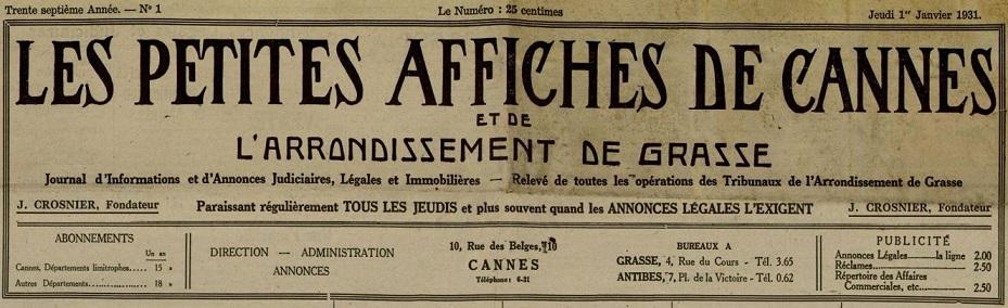 Photo (Cannes (Alpes-Maritimes). Archives municipales) de : Les Petites affiches de Cannes et de l'arrondissement de Grasse. Cannes, 1895-1944. ISSN 1259-6787.