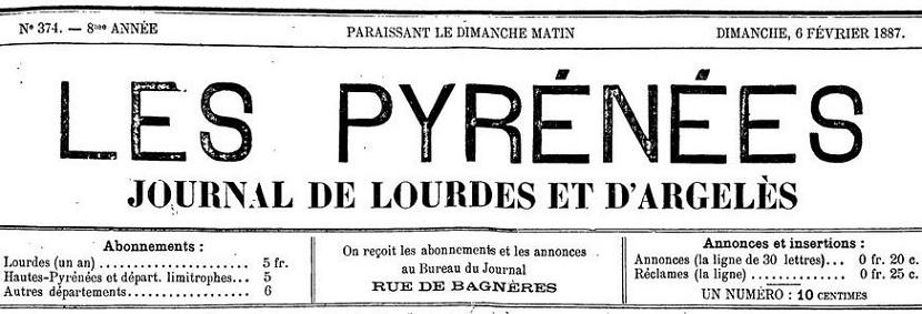 Photo (BnF / Gallica) de : Les Pyrénées. Lourdes, 1879-[1888 ?]. ISSN 2022-6268.