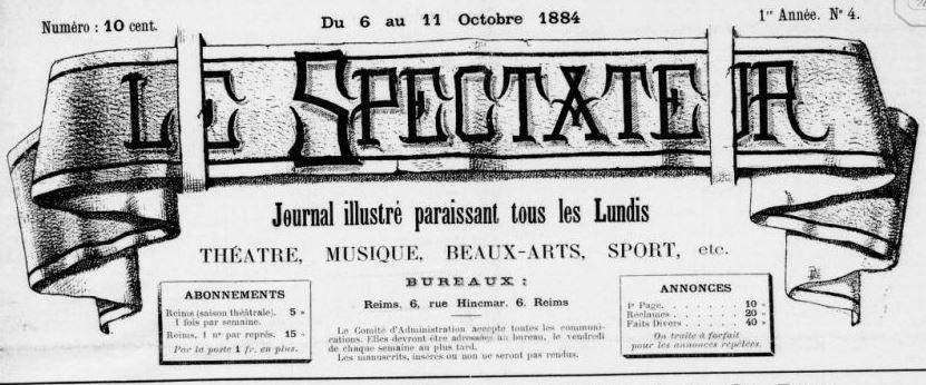 Photo (BnF / Gallica) de : Le Spectateur. Reims, 1884-[1885 ?]. ISSN 2138-309X.