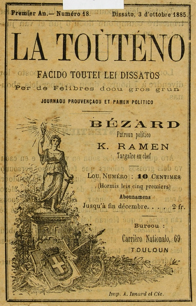 Photo (Bibliothèque municipale (Grasse, Alpes-Maritimes)) de : La Toùténo. Touloun: A. Isnard, 1885-1890. ISSN 2018-6940.