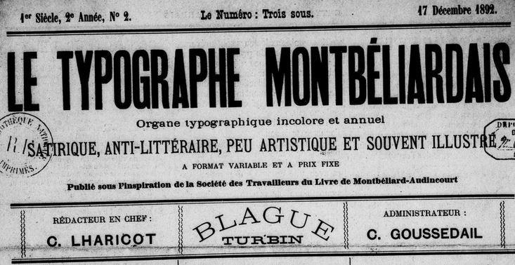 Photo (BnF / Gallica) de : Le Typographe montbéliardais. [Montbéliard], [1891 ?-1892 ?]. ISSN 2680-302X.