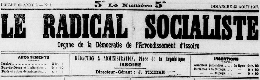 Photo (Bibliothèque du patrimoine de Clermont Auvergne métropole) de : Le Radical socialiste. Issoire, 1907-1914. ISSN 0765-7110.