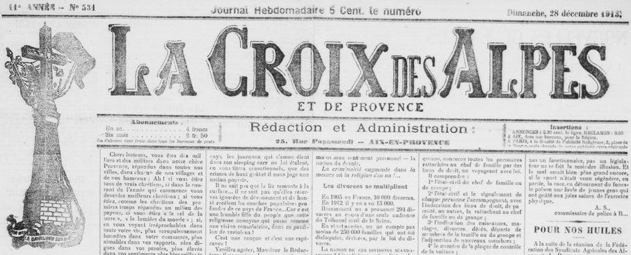 Photo (BnF / Gallica) de : La Croix des Alpes et de Provence. Aix-en-Provence, 1903-1944. ISSN 2262-5518.
