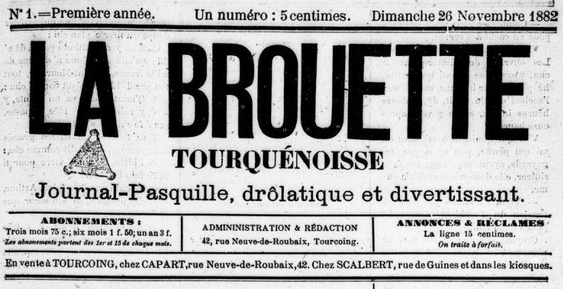 Photo (BnF / Gallica) de : La Brouette tourquénoise. Tourcoing, 1882-1884. ISSN 1155-9861.