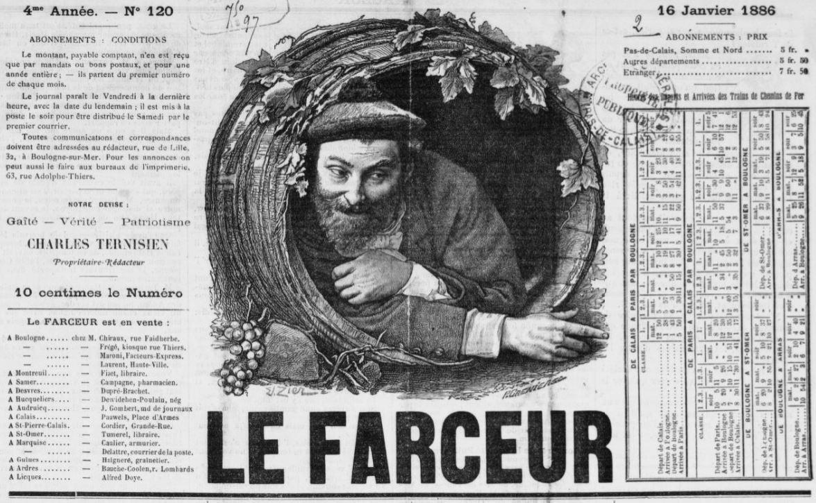 Photo (BnF / Gallica) de : Le Farceur. Boulogne-sur-Mer, 1885-1915. ISSN 2127-8148.