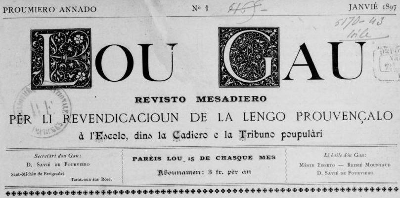 Photo (BnF / Gallica) de : Lou Gau. Tarascoun-sus-Rose [i.e. Tarascon], 1897-1911. ISSN 2017-2648.