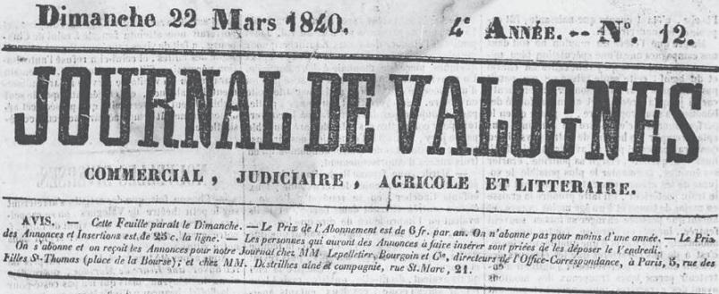 Photo (Médiathèque Julien de Laillier (Valognes, Manche)) de : Journal de Valognes. Valognes, 1837-1944. ISSN 2130-6664.