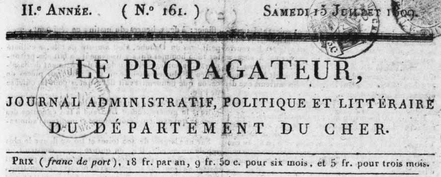 Photo (BnF / Gallica) de : Le Propagateur. Bourges: Delorme, 1807-1816. ISSN 2018-2201.