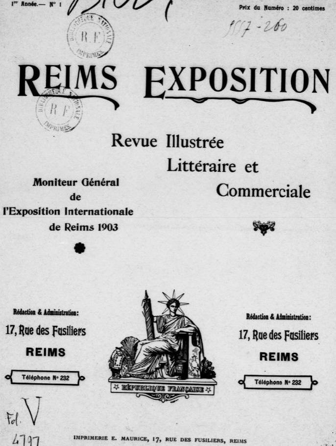 Photo (BnF / Gallica) de : Reims-exposition. Reims, 1903. ISSN 2136-0790.