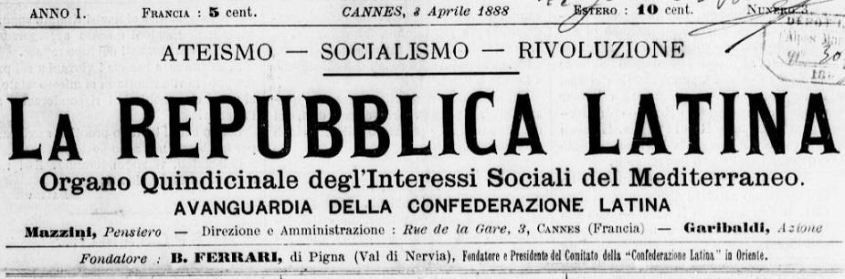 Photo (BnF / Gallica) de : La Repubblica latina. Cannes, 1888. ISSN 2136-1681.