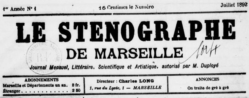 Photo (BnF / Gallica) de : Le Sténographe de Marseille. Marseille, 1892-[1893 ?]. ISSN 2138-3499.