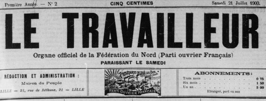 Photo (BnF / Gallica) de : Le Travailleur. Lille, Roubaix, Tourcoing, Armentières, 1886-[1914 ?]. ISSN 2138-8873.