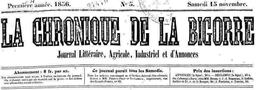 Photo (BnF / Gallica) de : La Chronique de la Bigorre. Tarbes: Perrot-Prat et Lescamela, 1856-1857. ISSN 0982-1236.