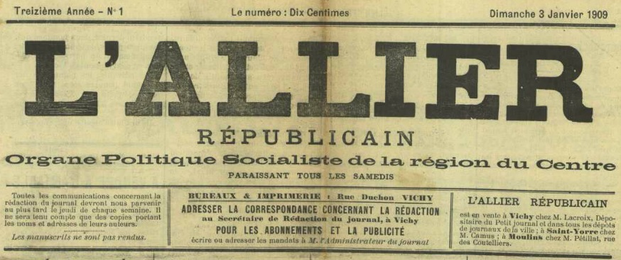 Photo (Allier. Archives départementales) de : L'Allier républicain. Vichy, 1899-1909. ISSN 2120-6023.