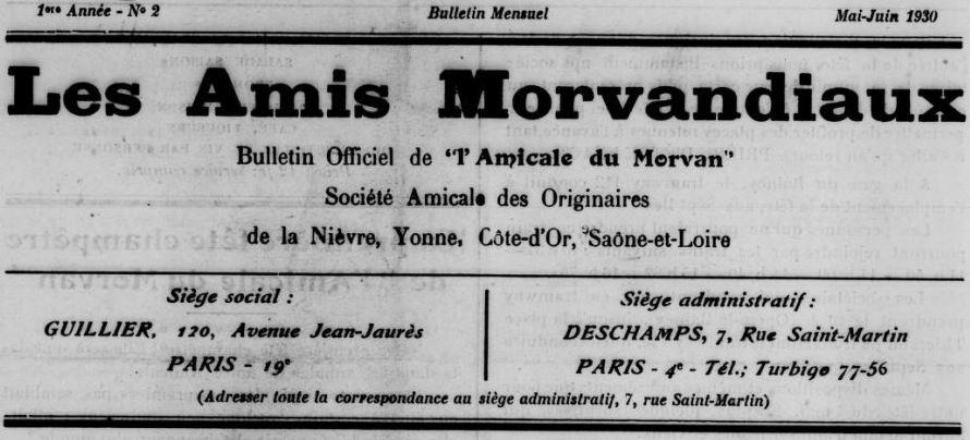 Photo (BnF / Gallica) de : Les Amis morvandiaux. Paris, 1930-1933. ISSN 2114-9224.