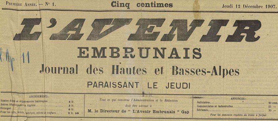 Photo (Hautes-Alpes. Archives départementales) de : L'Avenir embrunais. Gap, 1907-1914. ISSN 2258-3467.
