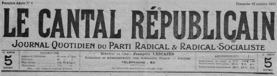 Photo (Cantal. Archives départementales) de : Le Cantal républicain. Aurillac, 1911-1941. ISSN 2123-4051.