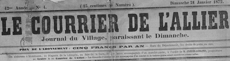 Photo (Allier. Archives départementales) de : Le Courrier de l'Allier. Montluçon, 1871-1873. ISSN 1967-9807.