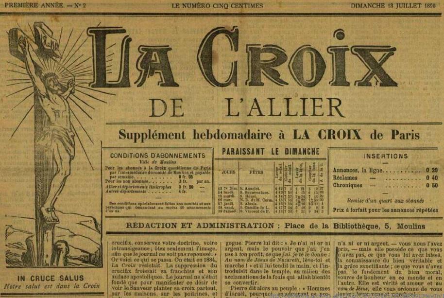 Photo (Allier. Archives départementales) de : La Croix de l'Allier. Moulins, 1890-1940. ISSN 2125-2157.