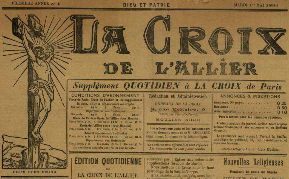 Photo (Allier. Archives départementales) de : La Croix de l'Allier. Moulins, 1894-1895. ISSN 2125-2165.