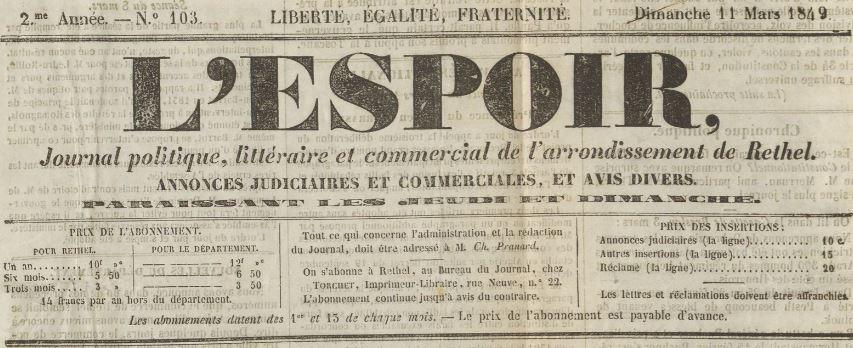Photo (Ardennes. Archives départementales) de : L'Espoir. Rethel: Torchet, 1848-1939. ISSN 2019-3831.