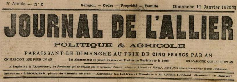 Photo (Allier. Archives départementales) de : Le Journal de l'Allier. Moulins, 1876-1940. ISSN 2130-3878.
