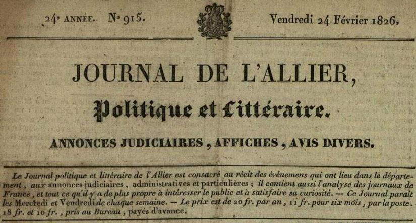Photo (Allier. Archives départementales) de : Journal de l'Allier. Moulins, 1819-[1831 ?]. ISSN 2130-3886.