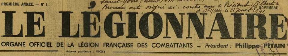 Photo (Allier. Archives départementales) de : Le Légionnaire. Vichy, 1940-1944. ISSN 1153-7264.